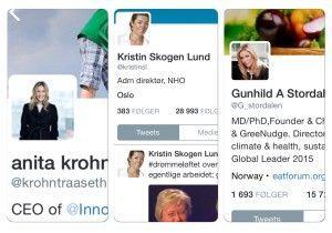 Innovasjon Norge-leder Anita Krohn Traaseth, NHO-sjef Kristin Skogen Lund og EAT-direktør Gunhild Stordalen er alle kvinner som behersker sosiale medier til fingerspissene.